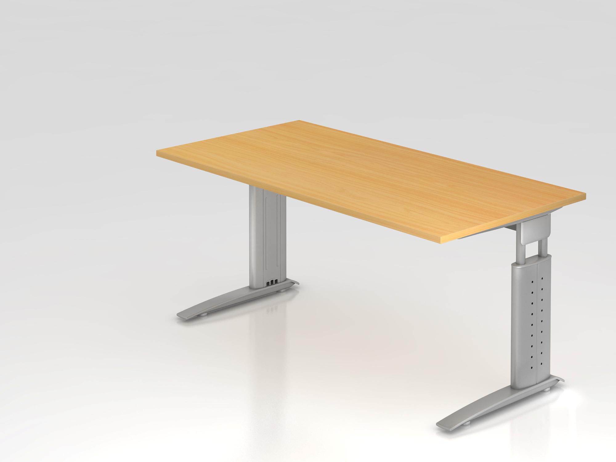 Schreibtisch C-Fuß 160x80cm Eiche/Silber